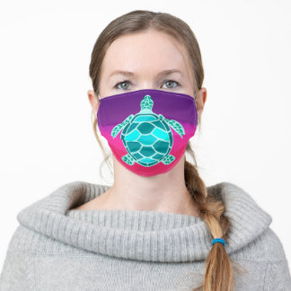 Blue green turquoise teal turtle adult cloth face mask