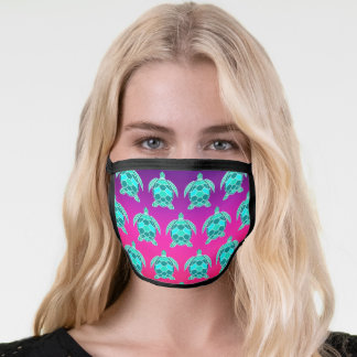 Blue green turquoise teal turtle face mask