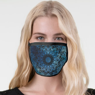 Blue  Hand-Drawn mandala with space custom color Face Mask