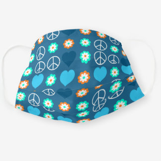 Blue Heart Orange Green Floral White Peace Pattern Cloth Face Mask