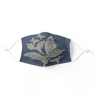 Blue Jean and Gold Butterflies Adult Cloth Face Mask