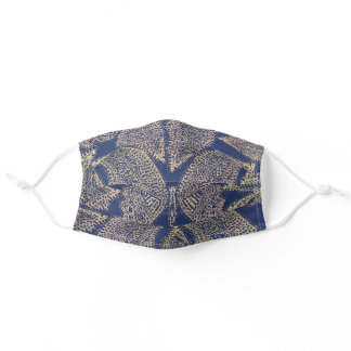 Blue Jean Gold Butterfly Premium Face Mask