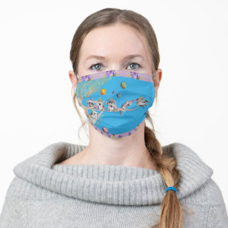 Blue Koala Watercolor Lilac floral Facemask Adult Cloth Face Mask
