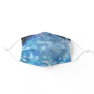 Blue Let it Snow! Christmas Holiday Adult Cloth Face Mask