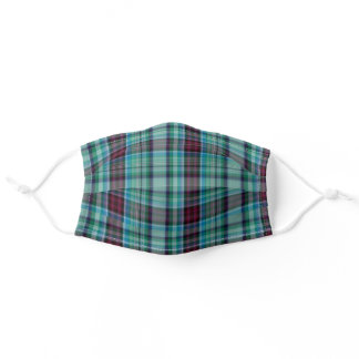 Blue Light Muted Green Red Black Plaid Adult Cloth Face Mask