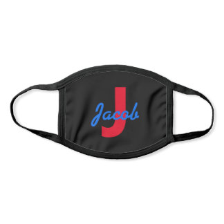 Blue Name and Red Monogram Face Mask