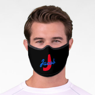 Blue Name and Red Monogram Premium Face Mask