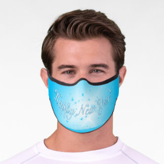 Blue New Year Design! Stars in the Blue Sky. Premium Face Mask