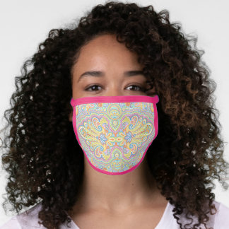 Blue Orange Pink Purple White Floral Paisley Face Mask
