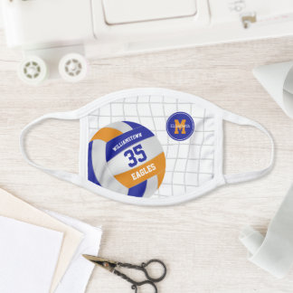 blue orange team name personalized volleyball face mask