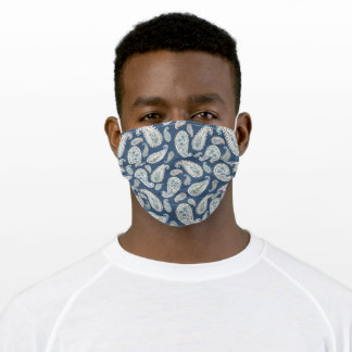 Blue Paisley Watercolor Pattern Adult Cloth Face Mask
