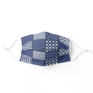 Blue Patch Work  Quilt Design Personal Adult Cloth Face Mask