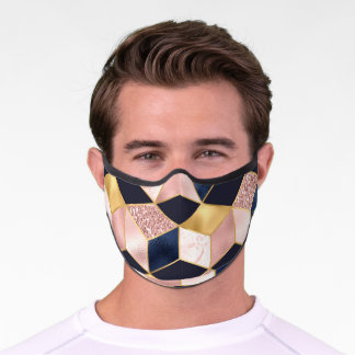 Blue, Pink, and Rose Gold Modern Geometric Premium Face Mask