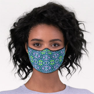 Blue Pink Lime Green Teal Tribal Inspired Pattern Premium Face Mask