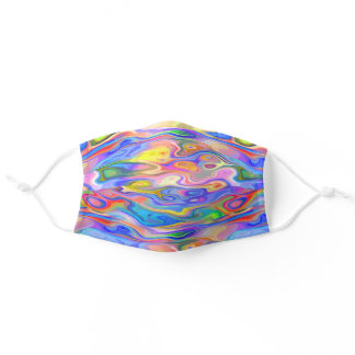 Blue Pink Orange Lime Green Purple Waves Pattern Adult Cloth Face Mask