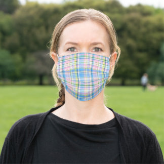 Blue Pink Yellow White Preppy Madras Plaid Adult Cloth Face Mask