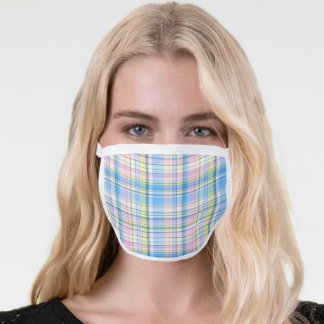 Blue Pink Yellow White Preppy Madras Plaid Face Mask