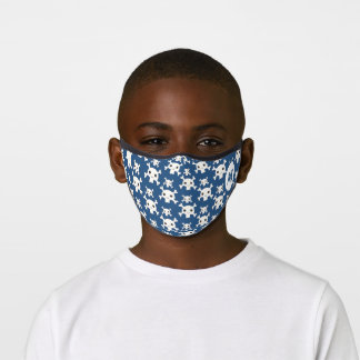 Blue pirates skull pattern kid fun custom monogram premium face mask
