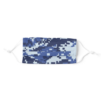 Blue Pixel Camouflage Adult Cloth Face Mask