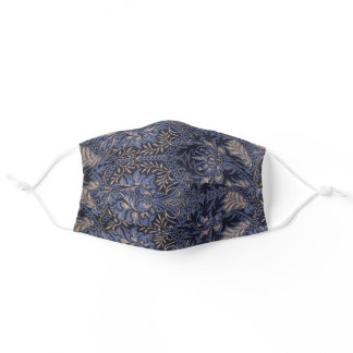 blue/purple and black pattern, floral adult cloth face mask