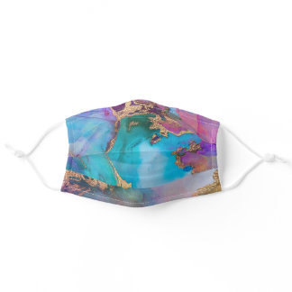Blue, Purple And Gold Metallic Abstract Watercolor Adult Cloth Face Mask