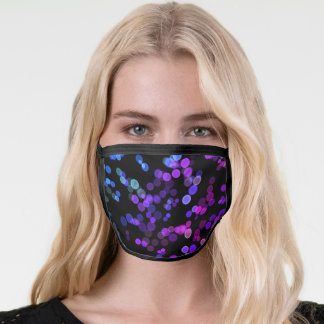 Blue Purple Pink Green Abstract Bubble Pattern Face Mask