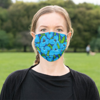 Blue Puya Flowers Bloom Botanical Tropical Floral Adult Cloth Face Mask