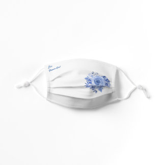 Blue Roses Watercolor Wedding Flower Girl Child Kids' Cloth Face Mask
