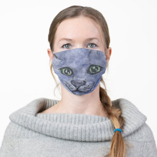 Blue Russian cat face mask