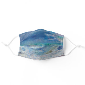Blue Seascape by Renoir Impressionist Painting Adult Cloth Face Mask