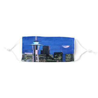 Blue Seattle Skyline Watercolor Painting Adult Cloth Face Mask