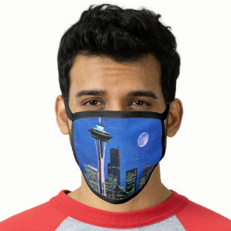 Blue Seattle Skyline Watercolor Painting Face Mask