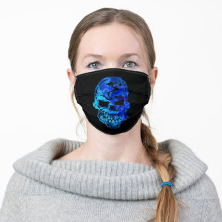 Blue Skull Black Adult Cloth Face Mask