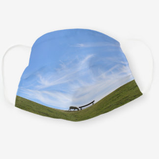 Blue sky above sheep on green dike Pellworm Cloth Face Mask