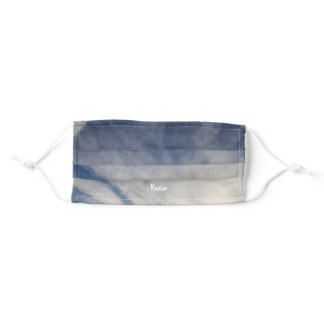 Blue Sky Wispy Clouds Name FaceMask Adult Cloth Face Mask