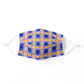 Blue Square Pattern Adult Cloth Face Mask