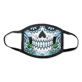 Blue Sugar Skull Face Mask