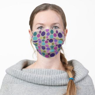 Blue, Teal, Purple, and Pink Polka Dots Adult Cloth Face Mask
