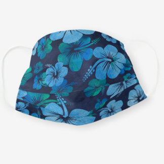 Blue Tropical Hibicus Floral Pattern Cloth Face Mask