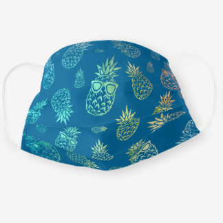Blue Tropical Watercolor Pineapple Pattern Cloth Face Mask