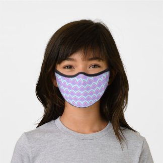 Blue Turquoise Pink Violet Feathers Art Pattern Premium Face Mask