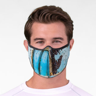 Blue wall and door premium face mask