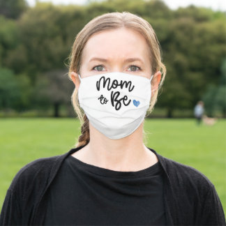 Blue Watercolor Heart Mom to Be Adult Cloth Face Mask