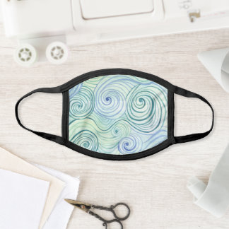 Blue Wave Beach Watercolor Pattern on Rustic Wood Face Mask