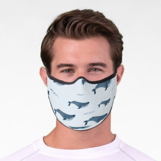 Blue Whales Swimming In The Ocean Premium Face Mask