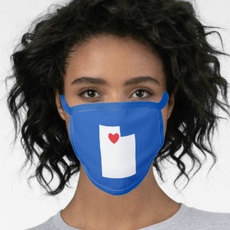 Blue White and Red Heart Utah Love Face Mask