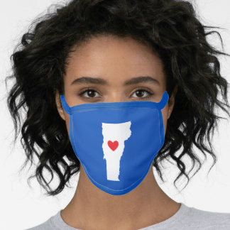 Blue White and Red Heart Vermont Love Face Mask