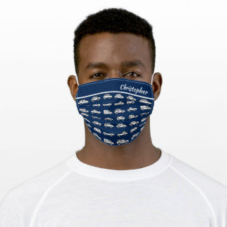Blue White Automobile Masculine Pattern Adult Cloth Face Mask