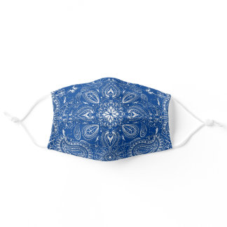 Blue White Bandana Paisley Pattern Print Cool Adult Cloth Face Mask