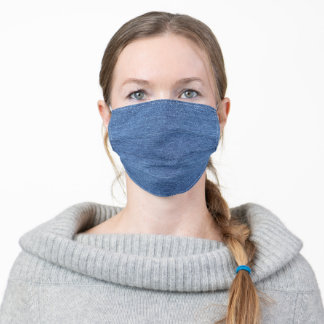 Blue White Denim Texture Look Image Adult Cloth Face Mask